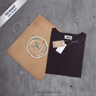Bag and t shirt mockup