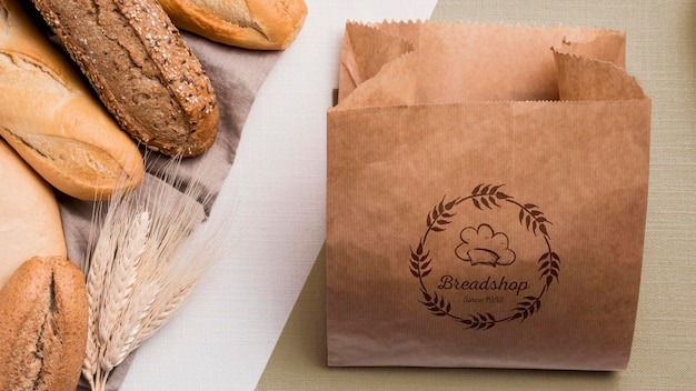 Bakery goods concept with mock-up