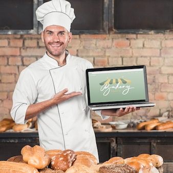 Bakery mockup with laptop