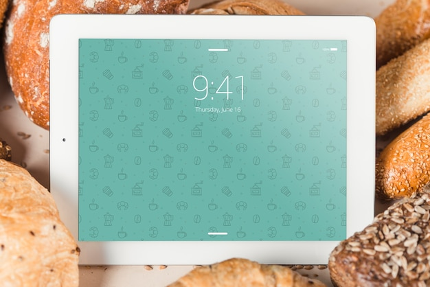 Bakery mockup with tablet
