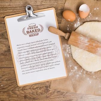 Bakery recipe on clipboard