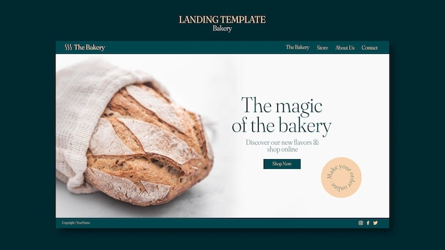 Bakery shop landing page template