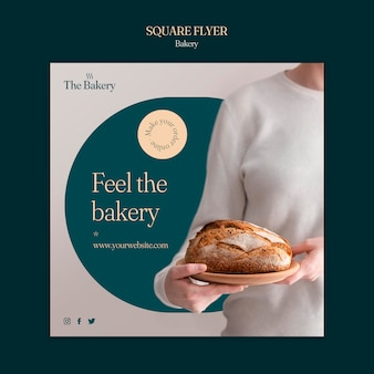 Bakery shop square flyer template