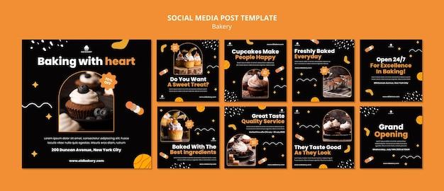 베이커리 소셜 미디어 게시물