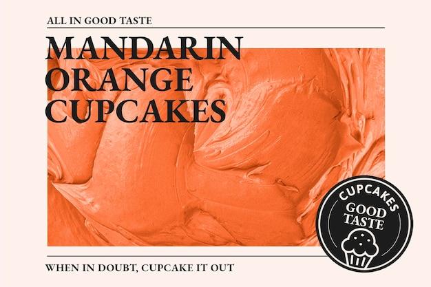 Modello di panetteria psd con texture glassa all'arancia madarin per banner blog