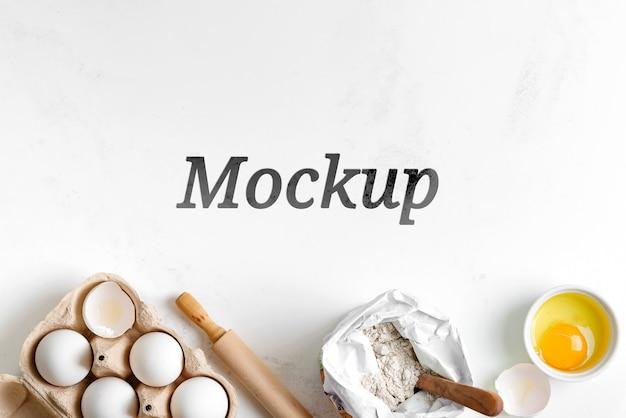 Baking ingredients on stone table mockup