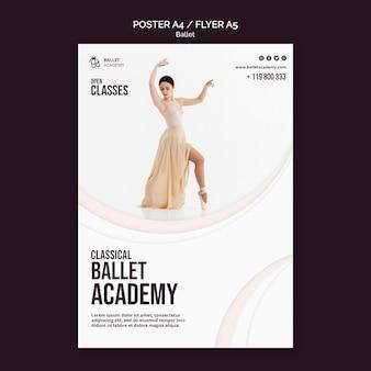 Шаблон флаера с концепцией балета