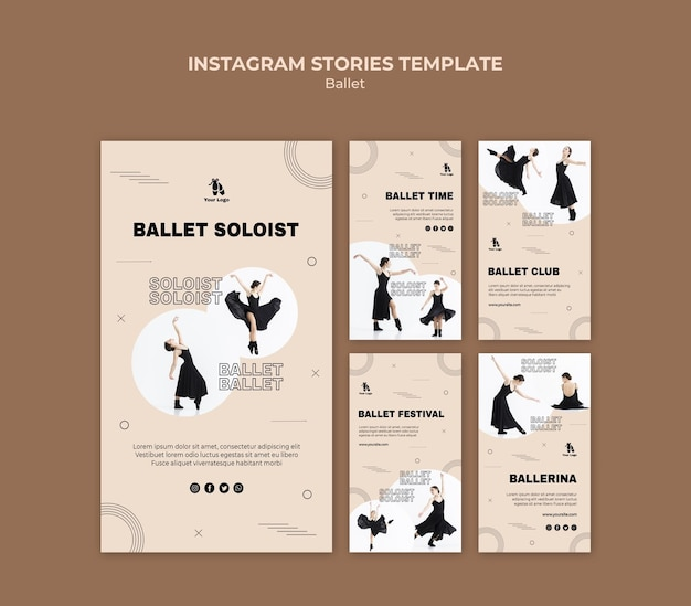 Ballet concept instagram stories template