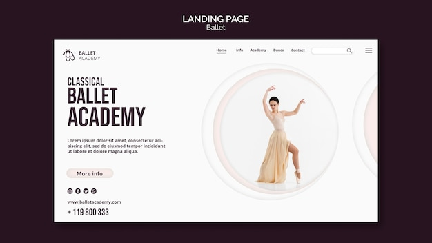 Шаблон целевой страницы концепции балета