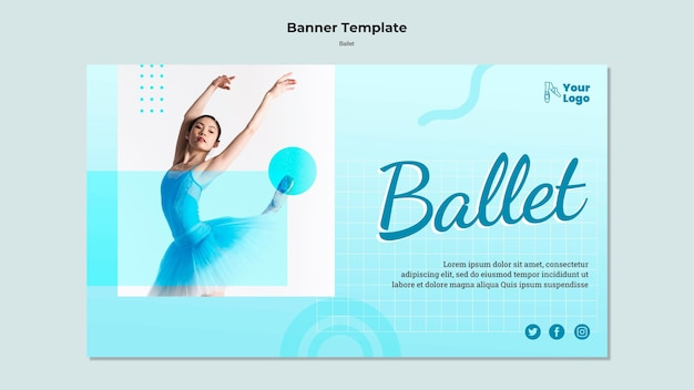Ballet dancer horizontal banner template with photo