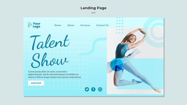Ballet dancer landing page with photo