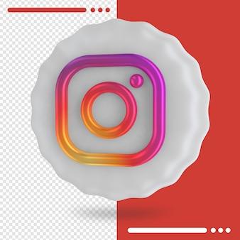 Instagramの3dレンダリングのバルーンとロゴ