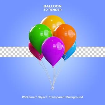 Воздушный шар иллюстрация 3d визуализации изолированные премиум psd