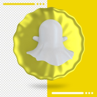 Balloon and logo of snapchat 3d rendering
