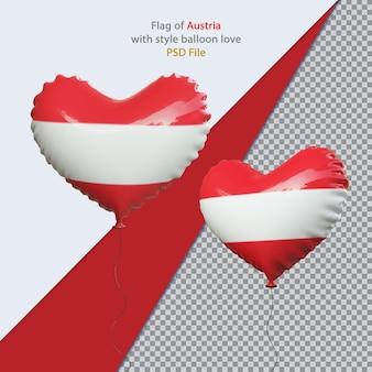 현실적인 오스트리아의 풍선 사랑 국기