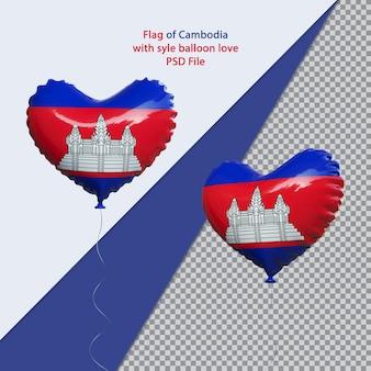 Воздушный шар любовь национальный флаг камбоджи реалистично