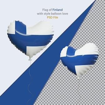 현실적인 핀란드의 풍선 사랑 국기