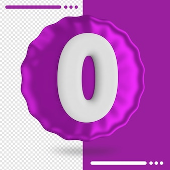 Balloon and number 0 3d rendering
