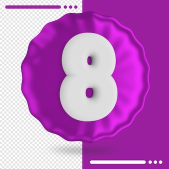 Balloon and number 8 3d rendering