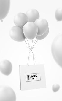 Рекламная распродажа макета сумки для покупок с воздушным шаром