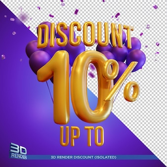 Balloon text discount up to 10 percentage 3d render isolated
