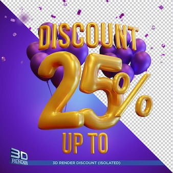 Balloon text discount up to 25 percentage 3d render isolated
