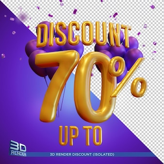 Balloon text discount up to 70 percentage 3d render isolated