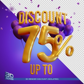 Balloon text discount up to 75 percentage 3d render isolated