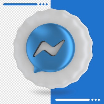 Balloon with logo of messenger in 3d rendering