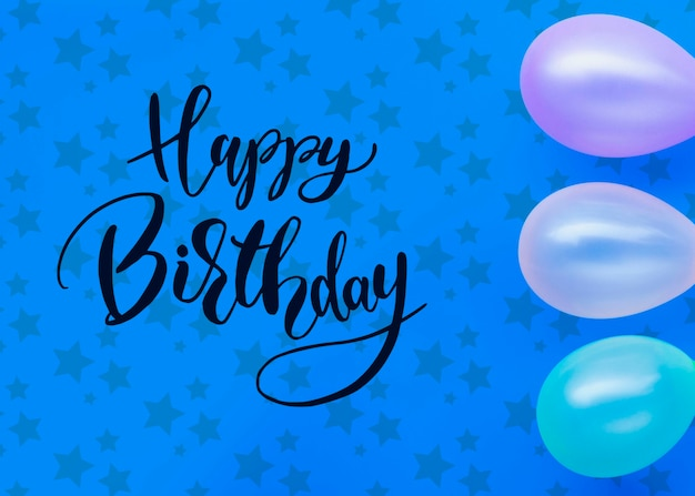 Balloons frame and happy birthday lettering
