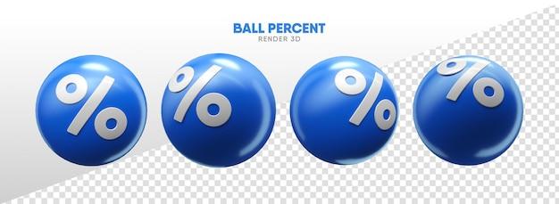 リアルな3dレンダリングでパーセントアイコンが付いたボール