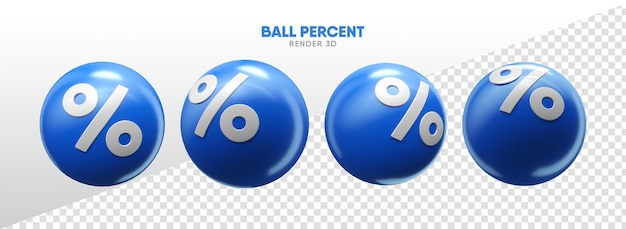 Balls with percent icons in realistic 3d render