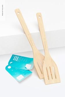 Mockup di spatola curva di bambù, appoggiata