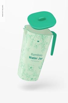 Bamboo fiber water jar mockup, falling