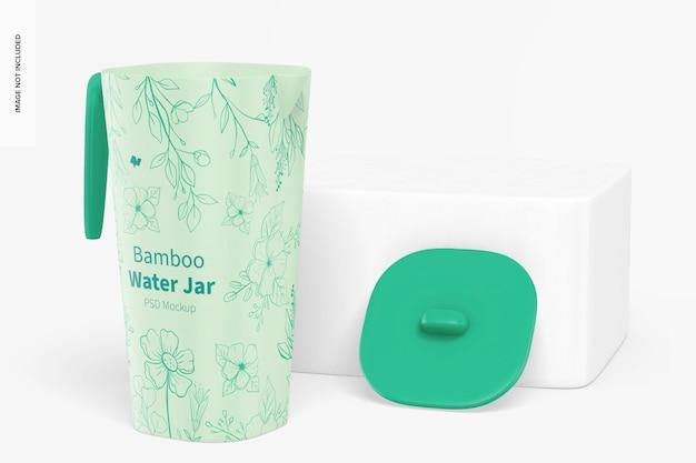 Bamboo fiber water jar mockup, front view