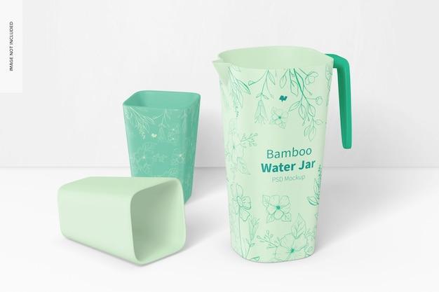 Bamboo fiber water jar mockup, perspective