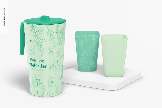 Bamboo fiber water jar with glasses mockup