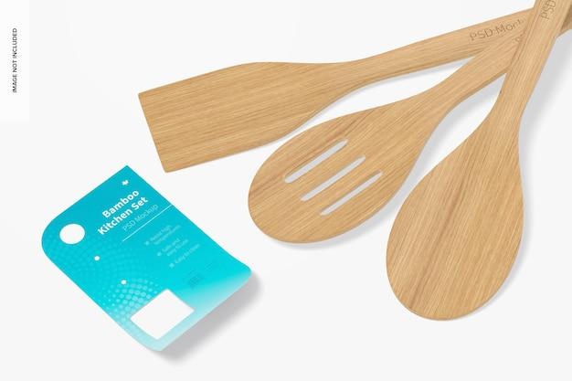 竹の台所用品セットのモックアップ、クローズアップ