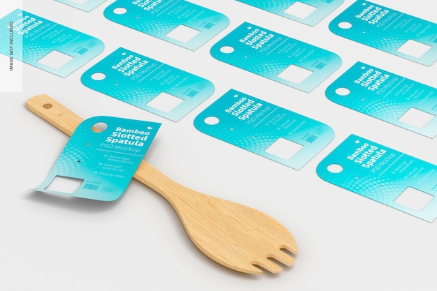 Bamboo slotted spatula with labels mockup