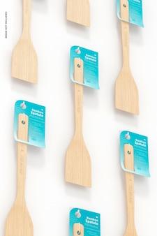 Mockup di set di spatole di bambù