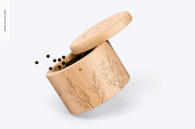 Мокап контейнера для бамбуковых специй, наклонный