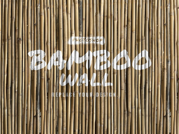 竹の壁のリアルなモックアップ