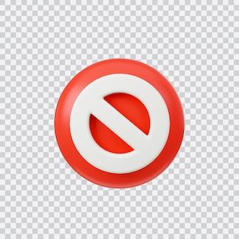 禁止または間違ったサイン3dレンダリングインターフェイスボタンが白で分離されています