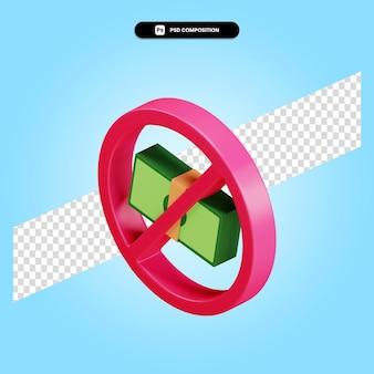 Ban or prohibited money cash symbol 3d render illustration isolated