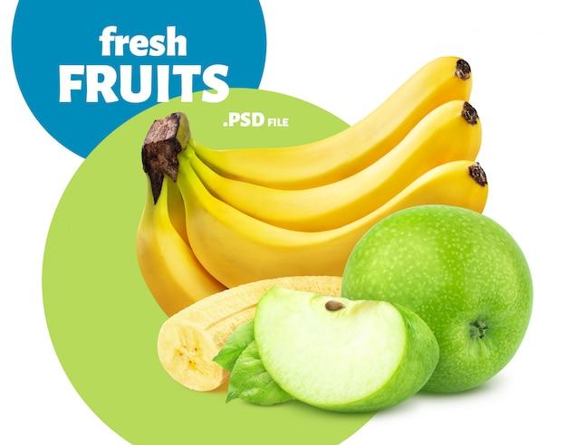 Банан и яблоко на белом фоне
