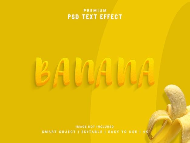 Банан psd текстовый эффект, 3d реалистичный шаблон, стиль текста.