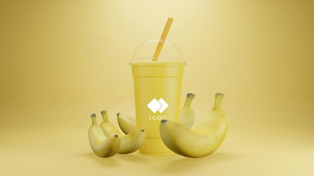Мокап бананового смузи, изолированные с фруктами
