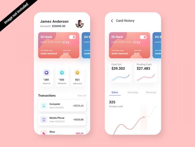 Шаблон оформления пользовательского интерфейса приложения bank & debit card app