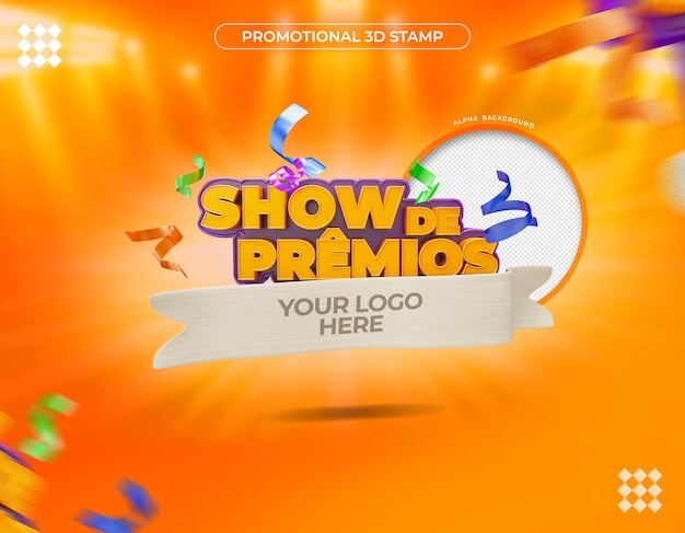 Banner 3d awards show in brazil promotion template
