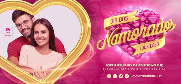Banner 3d render valentines day in brazilian